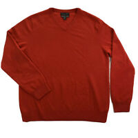 Tahari Pure Luxe 100% Cashmere Mens Large Red V Neck Pullover Sweater
