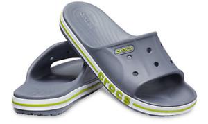 Crocs Unisex Bayaband Slide    Men's Size: 9     Charcoal / Volt Green   NWT