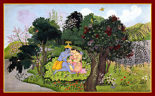 India Miniature Painting Reproduction: Krishna and Radha in Forest - Art Print