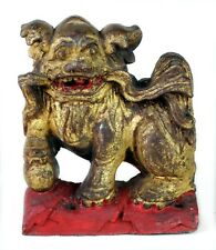 Fine 1900s Antique Chinese Wood Hand Carved Temple Foo Dog Lion Gilt and Red