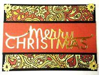 CHRISTMAS Holiday Greeting Card - Paisley - Handmade Ivory A2 Size