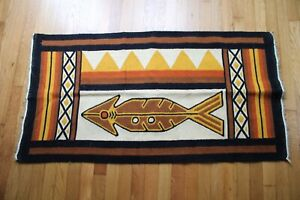 Vtg 100% Wool 2x4 Brown Ivory Fish Mid Century Rug 24.5x48.5 Geometric