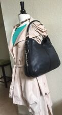 Sergio Rossi Black Leather Shoulder Bag with Silver Chains on Sides