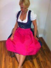 Edel-Dirndl MARIE Bluse Schürze BLAU mit BLUMEN Trachtenkleid Tracht Pink neu