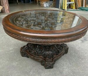Round Carved Wood, Glass Top Coffee Table