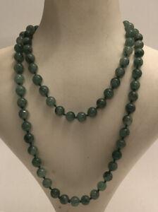 Vintage Jade Jadeite Necklace Beaded Gemstone 1980s Knotted Jewellery Jewelry