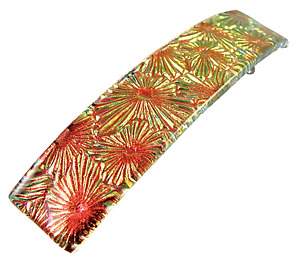 """Dichroic Hair Barrette 3.5"""" 90mm Copper Red Orange Fused Glass Floral Patterned"""