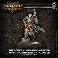 Warmachine PIP31138 Cygnar Trencher Commando Officer Command Attachment Leader