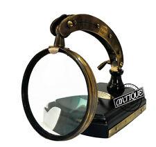 Desk Glass Lens Magnifying Glass On Wood Base, Side Ruler, Compass, Vintage Deco