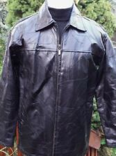 Men's Black Lined Leather Jacket Coat Patch Work from Leather Works Size M
