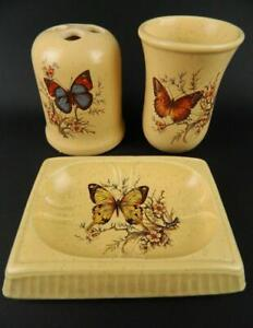Vintage Treasure Craft Butterfly Bath Set Toothbrush Holder Soap Dish Tumbler