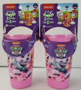 Playtex 360 Paw Patrol Pink Spoutless Sippy Cups Set of 2 New