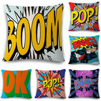 Cotton Linen OK-BANG-POP-YAY-ART-ZAP Throw Cushion Cover Home Decor Pillow Case