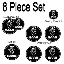 Saab Black White Replacement Decal Sticker 8 Piece Set #1011 hood trunk emblem