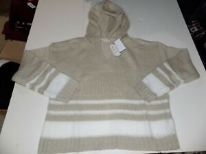IT'S OUR TIME STRIPED PULLOVER HOODIE JR SZ X-LARGE -LINEN/WHITE- NWT