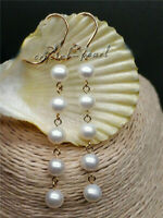 natural AAA 7-8 mm South Sea White Pearl Dangle Earrings 14K YELLOW GOLD