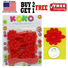 Girls Kids Red Daisy Flower Hair Barrette Snap Clips Holder Accessories