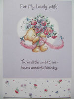 LOVELY GLITTER COATED BOUQUET OF FLOWERS WIFE BIRTHDAY GREETING CARD