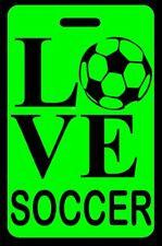 Hi-Viz Green Love Soccer Bag Tag - Free Personalization
