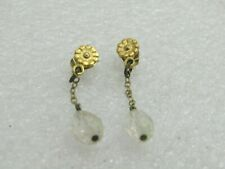 Vintage Pair of Floral Stud/Floral Dangle Earrings, Pierced, Gold Tone