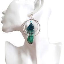 NEW Vintage Womens Double Ring Feather Teardrop Bead Dangle Drop Hook Earrings