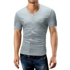 Men's Button Front Short Sleeve T-Shirt Slim Fit Tops Basic Tees Cardigan New B