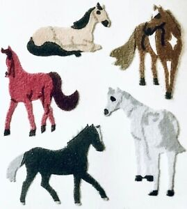 **RARE** FUZZY HORSES - MIX BREED Sandylion Stickers - 3 squares  ~NOT IN PRINT~