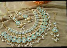 Indian Bollywood Meenakari Aqua Gold Tone Necklace Earring Bridal Ethnic Jewelry