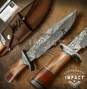 IMPACT CUTLERY RARE CUSTOM DAMASCUS KNIFE CAMEL BONE HANDLE