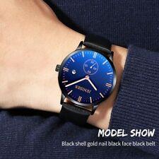 Men Slim Dail Waterproof Leather Strap Luminous Pointer Sport Quartz Wrist Watch