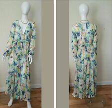 Floral Maxi Chiffon,Long sleeves Dress,Small, V-Neck Loose,See through,New w/tag