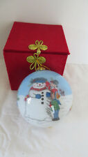 Christmas 1999 Children Building a Snowman Inside-Painted Glass Ornament