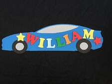 Personalised Wooden Name Plate Children Door or Wall Sign Blue Car