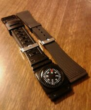 2 Gent's NOS T & C 20mm Black Rubber/PVC Divers Watch Bands W/Stainless Buckles