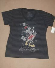 DISNEY BLACK MINNIE MOUSE DIAMONTE GLITTER SIMPLY FAB T SHIRT 16/18 NOT PRIMARK
