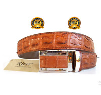 Backbone Genuine Real Crocodile Alligator Skin Leather Men's Golden Tan Belt New