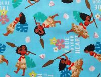 FAT QUARTER DISNEY PRINCESS FABRIC MOANA TRUE TO YOUR HEART QUILTING  COTTON  FQ