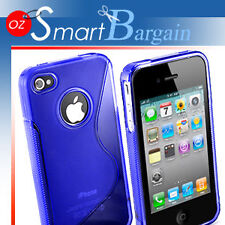 New Blue Soft Gel TPU Cover Case For iPhone 4G + Film
