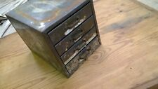 Vintage Industrial Small Metal 4 Drawer Parts Storage Box Cabinet Bin. PATINA!