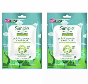 2x Simple Pollution Protect Sheet Facial Mask, 21 ML Skin Care Womens Beauty