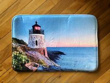 Nautical Seaside Lighthouse On Cliff Accent Rug Coastal Bay Cushioned Rug