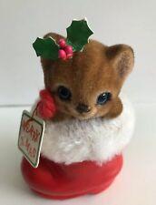 Vintage Josef Originals Flocked Kitten In Santa Boot