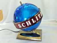 Schlitz beer sign 1956 motion spinning globe bar topper Michigan mirrored blue