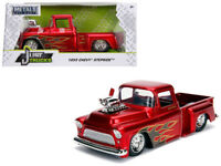1955 Chevy Stepside Pickup Diecast 1:24 Jada Toys 8 inch Red w Blower w Flames