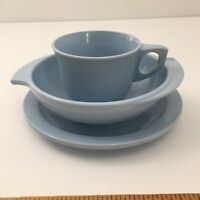 Vintage Mid Century Boonton Ware Baby Blue Melmac Bowl 307-10, Plate, Cup 206-8