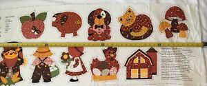 Vintage Country Autumn Fall Harvest Appliqués Fabric Panel