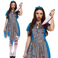 Adult Ladies Evil Alice in Wonderland Zombie Halloween Fancy Dress Party Costume
