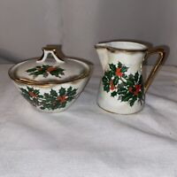 Vintage Ucagco Holly Berry Sugar & Creamer Set Japan Pearlescent Christmas