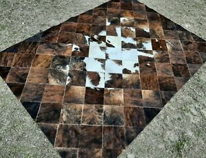 NEW COWHIDE PATCHWORK CARPET AREA RUG Cow hide Brindle & White BIGGG