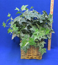 Artificial Silk Ivy Greenery Floral Decor in Wicker Basket Wall Hanging Pocket